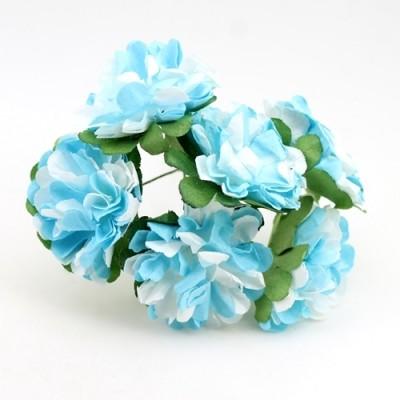 Связка из бумажных цветов 6шт Голубые #11054