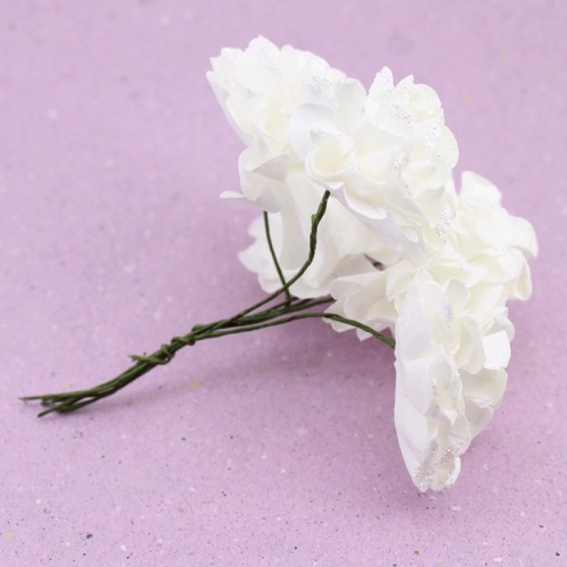 Связка из бумажных цветов 6шт Белые #11055