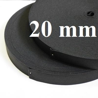 Резинка вязаная 20мм черная, 1метр #3898