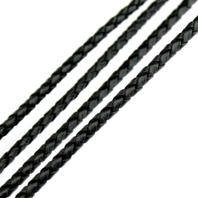Шнур кожаный плетёный D=3 мм Черный 50 см #2681