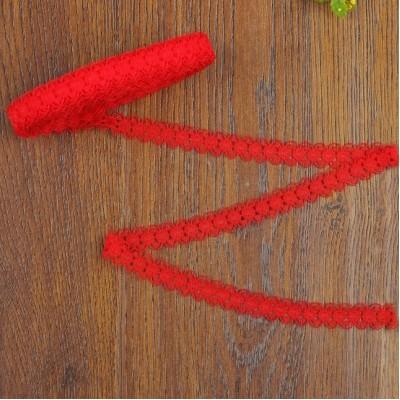 Кружево капроновое, 15мм, 10 метров Красное #10785