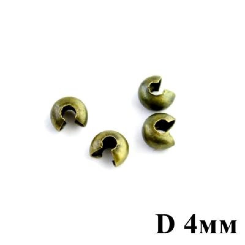 Кримпы обжимные D=4 мм 1 гр (12 шт) #3819
