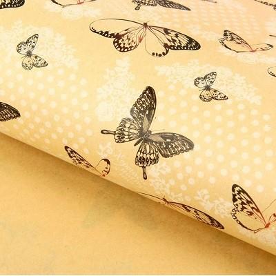 Бумага упаковочная крафт 50х70 Бабочки #10221