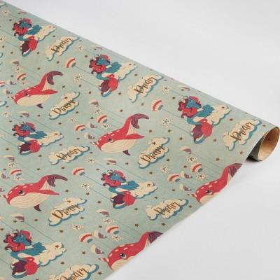 Бумага упаковочная крафт Розовый кит 70х100см #10222
