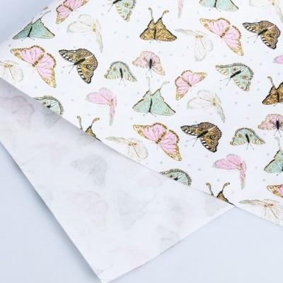 Бумага упаковочная крафтовая «Бабочки», 50 × 70 см #10711