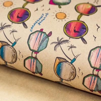 Бумага упаковочная крафтовая «Солнечные очки», 50×70 #11236