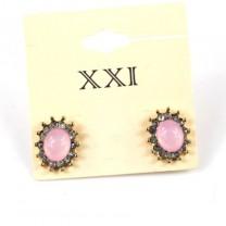 Овальные розовые Серьги #4023