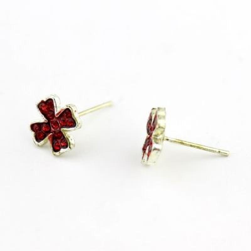 Серьги-гвоздики в виде цветка клевера #7825