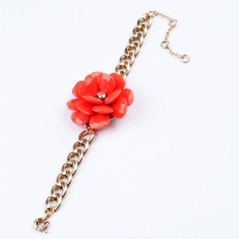 Браслет Красный цветок #3868
