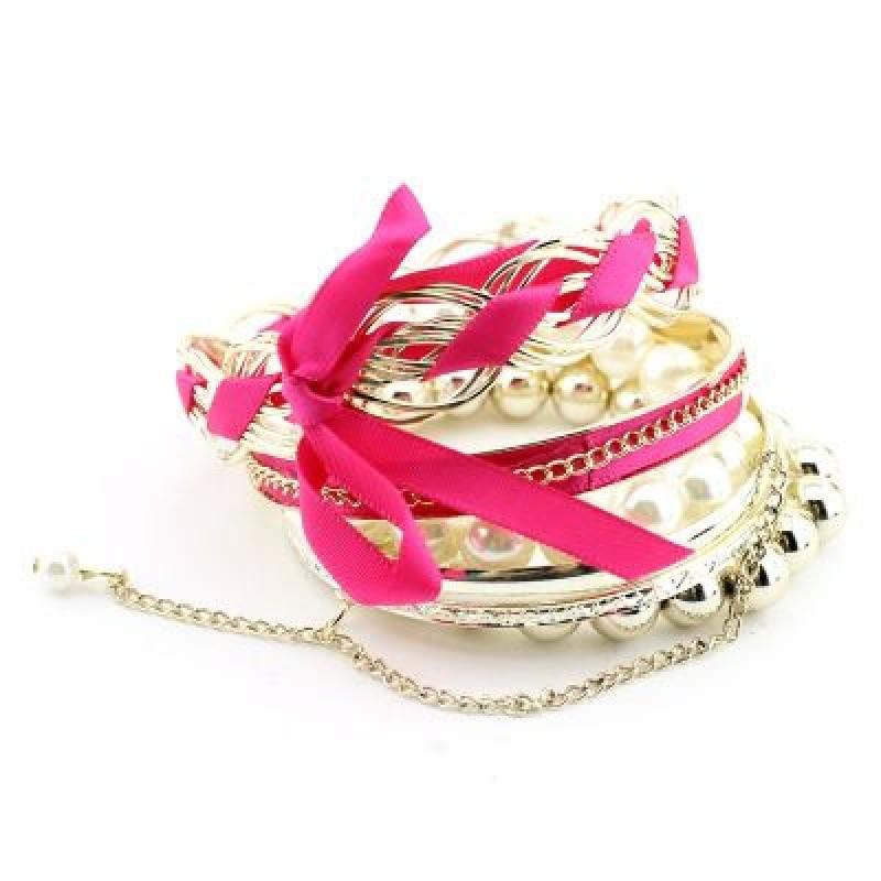 Розовый Браслет с Лентой  #6322