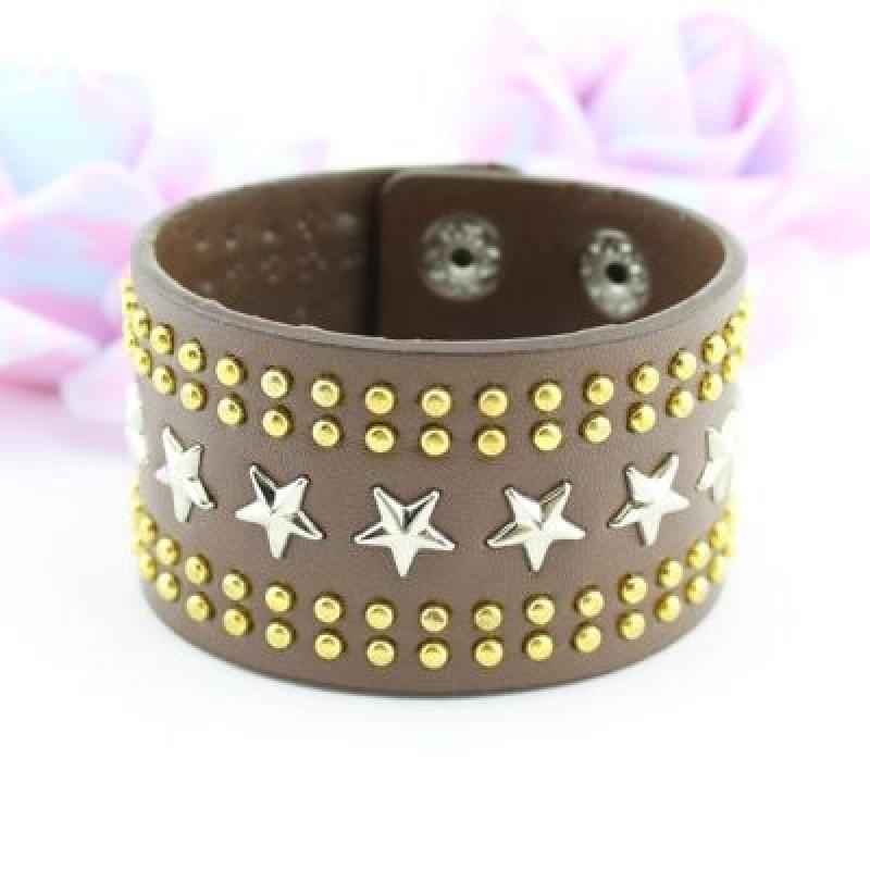Широкий Браслет с заклепками и звездами #1843