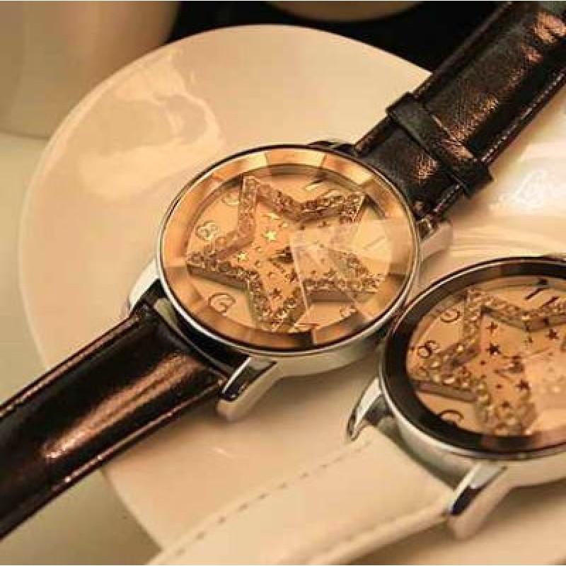 Часы со Звездой и Стразами #3870 Черные