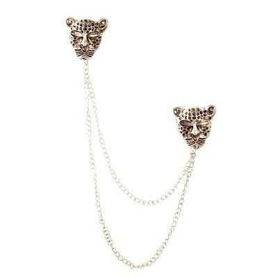 Парная Брошь Леопард #3518 Серебро