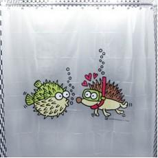 Занавеска для душа Рыбка и Ёж #7752